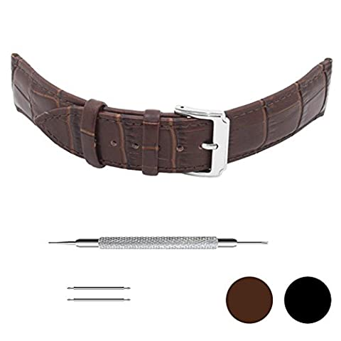 Genuinue Leather Wrist Watch Bands Strap for Men Women Ladies with Stainless Buckle (20mm, Brown) (Leather Round Watch)
