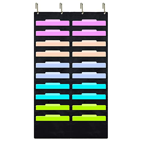 Eamay Hanging File Folder Organizer - 20 Pockets and 4 Over the Door Hanger, Wall Mount Document Letter Organizer/ Pocket Chart Office Supplies Office Bill Organizer for Home School Classroom Planner