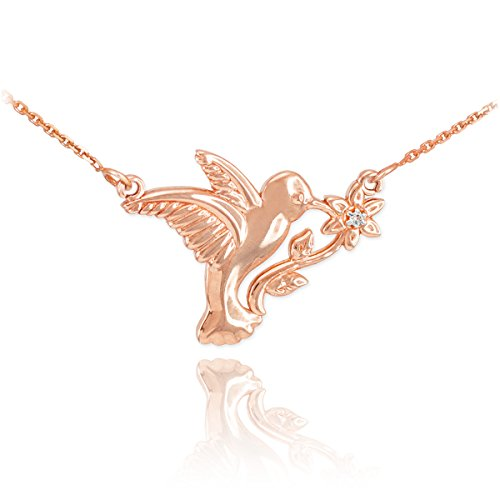 (Fine 14k Rose Gold Diamond-Accented Hummingbird Pendant Necklace,)