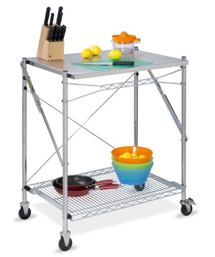 (Honey-Can-Do TBL-01566 stainless steel folding urban work table grey)