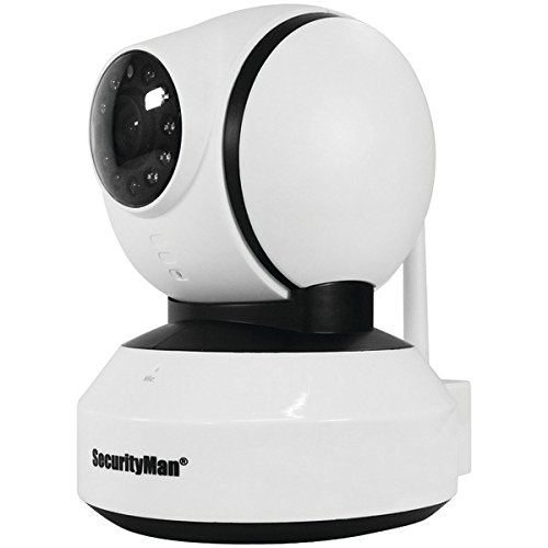 Securityman IWATCHALARMD App Based Pan-Tilt iSecurity WiFi Indoor Camera, White (SM-821DTH) (Camera Color Securityman Indoor)