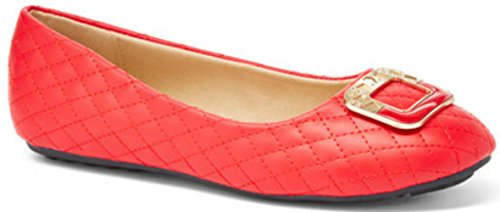 Quilted Bow Toe Ballet Flats Red JYAXf