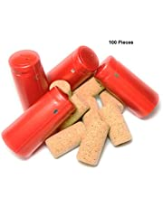 Ansley Bridge Corks and Capsules Kit for Wine Making with 50 x #9 Long Straight Agglomerated Corks and 50 x Premium PVC Heat Shrink Capsules with Tear Tab - Suitable for Professional and Home Use (Red)
