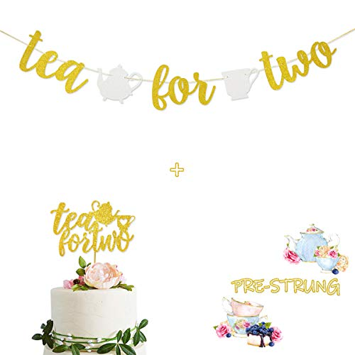 Tea for Two Gold Glitter Banner Sign Garland With Teapot Teacups Pre-strung & Tea for Two Cake Topper for 2nd Second Birthday Tea Party Decorations