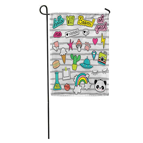 Semtomn Garden Flag Summer 80S Pop Patches Pins Badges Collection Donut Space Kids Home Yard House Decor Barnner Outdoor Stand 28x40 Inches Flag ()