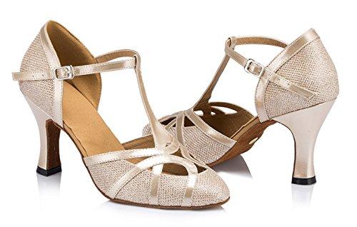 TDA Womens Mid Heel Champagne PU Leather Salsa Tango Ballroom Latin Party Dance Shoes CM101 9 M US