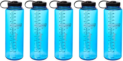 Nalgene HDPE 48oz Silo Wide Mouth BPA-Free Water Bottle (Blue 5-Pack)