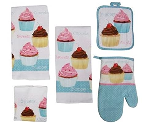 Exceptionnel 7 Piece Too Cute Cupcake Kitchen Dish Towels Set With Pot Holders And Oven  Mitt: Amazon.ca: Home U0026 Kitchen