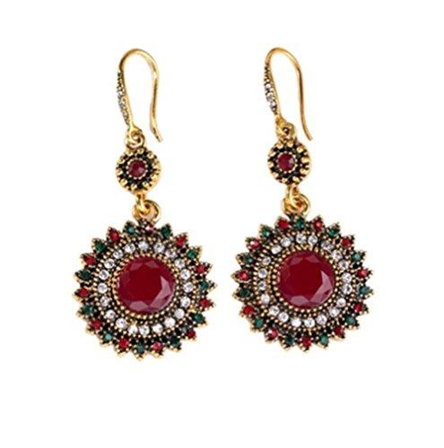 Caat Aycox Women Colorful Ethnic Bohemian Temperament Joker Round Earrings India Sunflower Jewelry Glod - Uk Usps Tracking