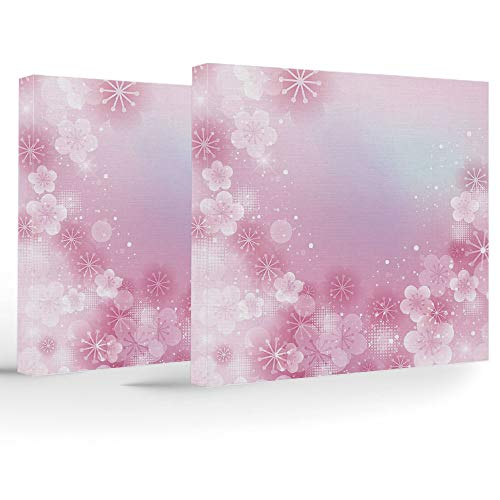 Artwork Wall Art Canvas Prints Picture,Light Pink,2 Panels Stretched Canvas Framed Wall Art,Magical Hazy Asian Garden in Full Blossom Japanese Apricot Flowers Dots ()