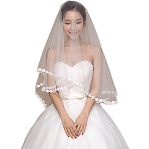 Kimbridal Ivory Bridal Veils 1.5 M Tulle Wedding Veils Appliqued Flowers