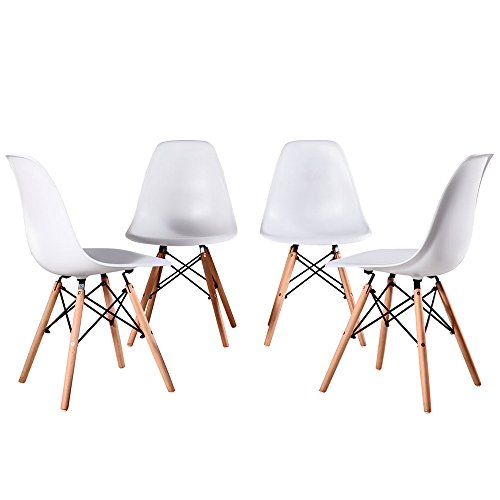 Artwell Eames Style Chairs Mid Century Modern Dining Chair Side Chair ABS Plastic Armless Chair With Beech Wood Legs Easy Assemble for Dining Room Living Room Bedroom Kitchen, Set of 4 from Artwell