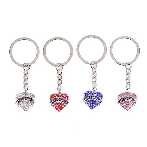 - Monrocco 4 Pack Class of 2019 Keychain Heart-Shaped Pendant Keychain Teacher Keychain Appreciation Gift Jewelry for Women Teacher(Blue, Pink, White, Red)