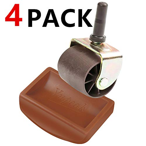 Yupeak Bed Stopper & Furniture Stopper - Caster Cups fits to All Wheels of Furniture, Sofas, Beds, Chairs - Furniture Cups Made up of Solid Silicone and Prevents Scratches 4PACK(Dark Brown)