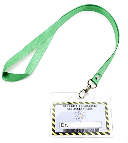 Halloween Themed Name Tags (Science Party Favors Kids Lanyards -12 pack Mad Scientist Theme Party Supply Decorations, Doctor Security Clearance Personalize Label in Plastic Tag Holder with Green)
