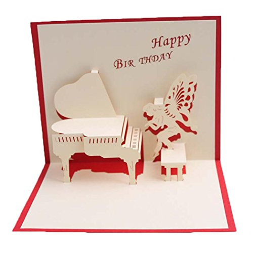 Honghong Creative 3D Greeting Card Pop Up Holiday Paper Festival Birthday Valentine's Day Gift (Birthday Piano)