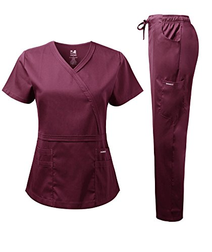 Dagacci Medical Uniform Women's Scrub Set Natural Stretch Y-Neck Stitch Tape Top and Pants (Small, Burgundy)