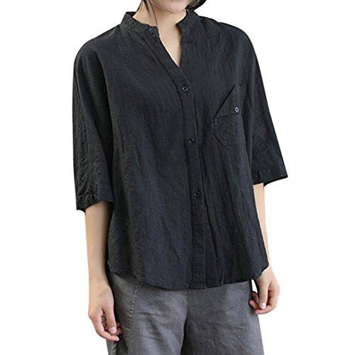 4 Femmes Shirt Casual de Chemisier Femme Manches en Chemisier Noir Shirt 3 Coton JIANGfu Tops Vrac Bouton T T Poche Longues Plein Chemise Manches Op0nqYpEv
