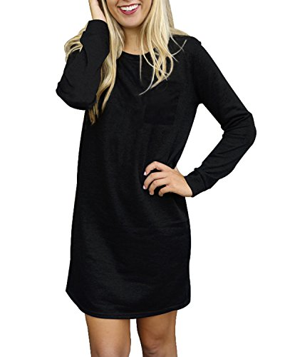 SUNNYME Women's Long Sleeve Mini Dresses T-Shirts Loose Fit Pullover Tunic Tops Black 2XL