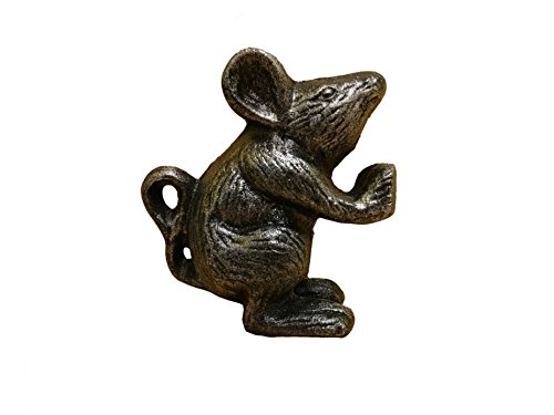 "Rustic Silver Cast Iron Mouse Door Stopper 5"" - Mouse Door Stop - Animal Theme"