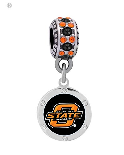 Oklahoma State University Crystal Logo Charm Fits European Style Large Hole Bead Bracelets