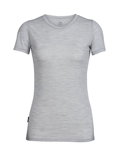 Icebreaker Merino Women's Tech Lite Short Sleeve Crewe T-Shirt, Blizzard Heather, - Womens Breaker