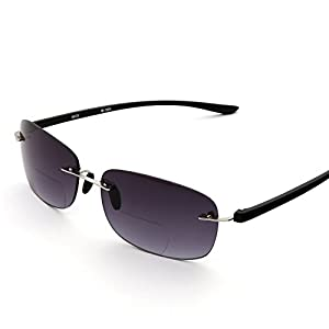 MIDI Square Reading Sunglasses for Men (M-305) Designed in Japan/Available in 6 colors (+2.50, Silver Lens/Gradient Smoke Lens)
