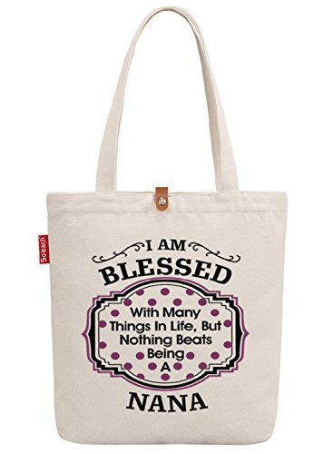 So'each Women's I 'm Blessed Nana Graphic Top Handle Canvas Tote Shoulder Bag