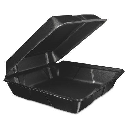 Dart Fusion 95HTB1R Foam Hinged Lid Container, 9.3w X 3h X 3d, Black, 200/carton