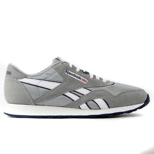 - Reebok Men's CL NYLON Classic Sneaker, Platinum/Jet Blue, 10M