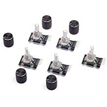 Cylewet 5Pcs KY-040 Rotary Encoder Module with 15×16.5 mm with Knob Cap for Arduino (Pack of 5) CYT1062