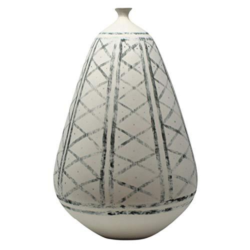 - Global Views Elegant Diamond Pattern Blue White Sculpture Vase | 14