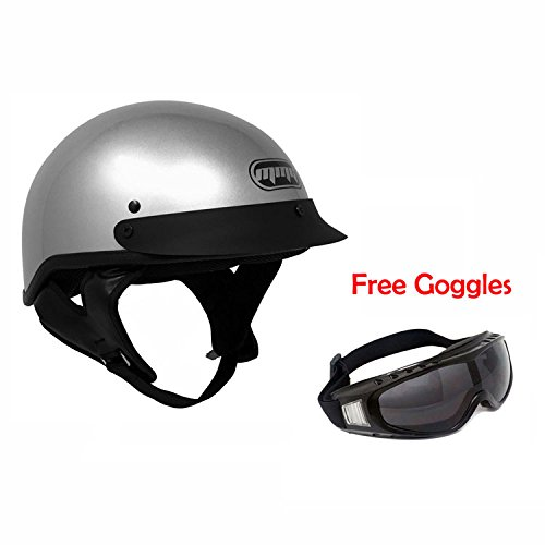 Motorcycle Half Helmet Cruiser DOT Street Legal - Silver (X-LARGE) Includes Riding Goggles