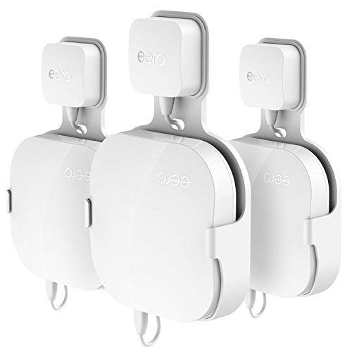 r eero Home WiFi, The Simplest Wall Mount Holder Stand Bracket for eero Pro WiFi System Router No Messy Screws! (White(3 Pack)) ()