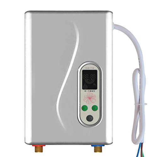 Water heater Roscloud@ 7KW,220V Outdoor Portable Tankless Instant, Display for Home Facilities,Camping/House Shower, Electric Modulation Patented Technology (Color : Gray)