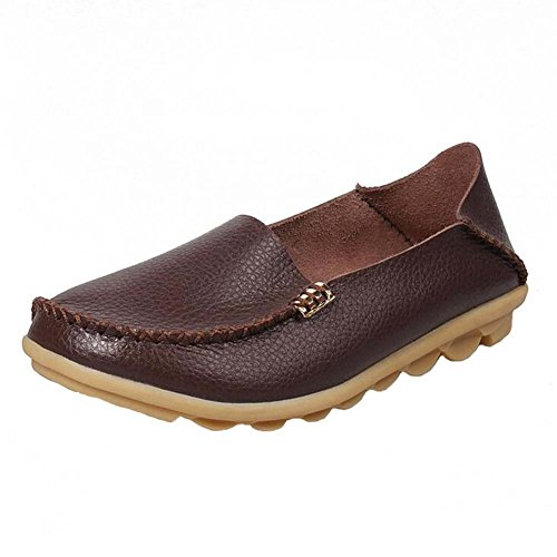 leather Coffee Mammy Travel Flats PU Soft Drive Loafers Womens Shoes Supper ANDAY Doug 1q7FIx