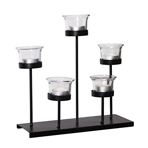 Adeco HD0057 Metal Stand with Glass Holder, Holds 5 Candles Tea Lights, Black