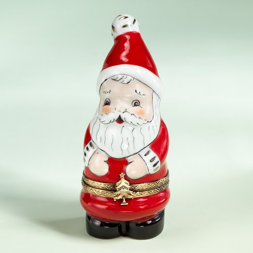 French Authentic Limoges Porcelain Santa Box by Authentic Limoges Boxes