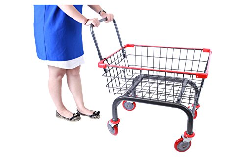 Cart&supply 1.8 bu Household & Commercial Cart With U- Handle (Red) (Laundry Basket With Wheels And Handle)
