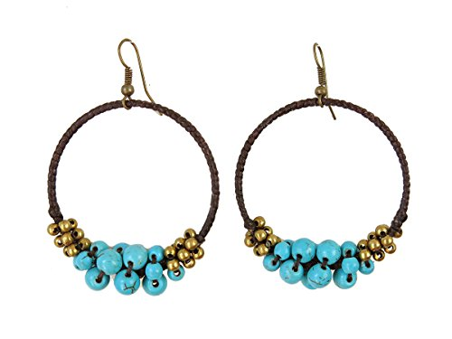 Women's Vibrant Gypsy Costumes (Simulated Turquoise Stone Handmade Beaded Hoop Earrings Bohemian Jewelry for Women)