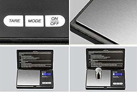 Wrighteu Escala de Bolsillo Báscula Digital Portátil de Precisión 200 x 0.01g Retroiluminado Pantalla LCD Mini para Monedas de Joyería cocina Droga Café: ...