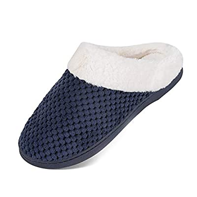 Womens House Shoes Men's Warm Slippers Cotton Home Shoes Comfortable Fleece Memory Foam Plush Lining Slip-on Cozy Clog House Shoes Indoor & Outdoor