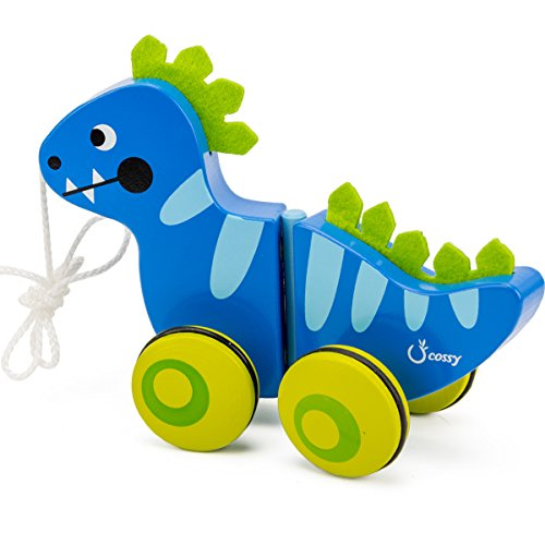 cossy Wooden Pull Toys for 1 Year Old, Dinosaur Push Toy for Toddler Children Kids by cossy