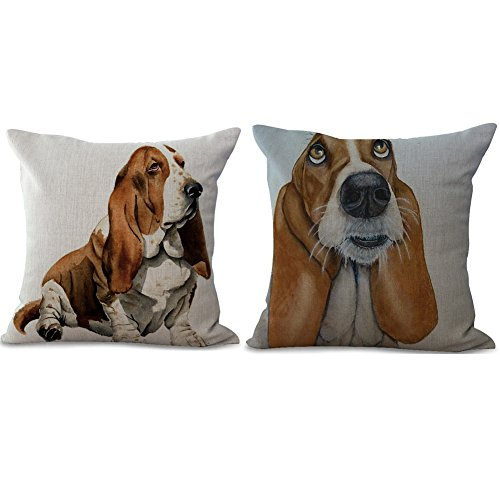 BQ 2Pcs Cushion Cover Retro Sweet Dog with Floppy Ears Short Strong Legs Basset Hound Pattern Pillow Case 18 x 18 Inches Cotton Linen Blend Square Throw Pillow Cover Cushion for Couch Home Decor