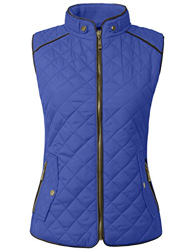 NE PEOPLE Womens Lightweight Quilted Zip Up Stand Collar Padded Vest - Quilted Pocket Two Vest