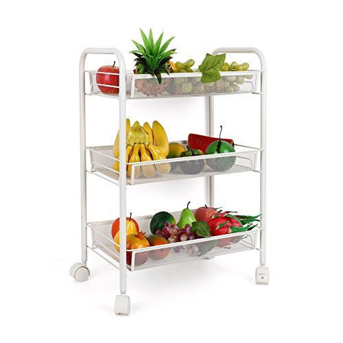 Homfa 3-Tier Mesh Wire Rolling Cart Multifunction Utility Cart Kitchen Storage Cart on Wheels, Steel Wire Basket Shelving Trolley,Easy moving,White