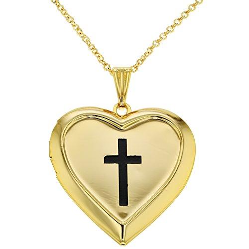 Photo Locket Cross Heart Religious Pendant Necklace Remembrance (Locket Religious Cross)