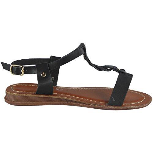 Buckle Sizes Sandals 8 Ankle Black Strap Summer 3 Flat Ladies Peeptoe Comfy Look Loud Shoes Womens IwqTT1