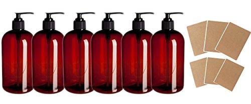 SanDaveVA Brand 16oz Amber Plastic Bottle PET Round Bottles w/Black Lotion Pumps 6/PK and Kraft Labels by SanDaveVA