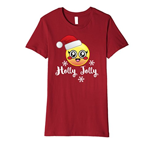 Womens Emoji Christmas Holly Jolly T Shirt